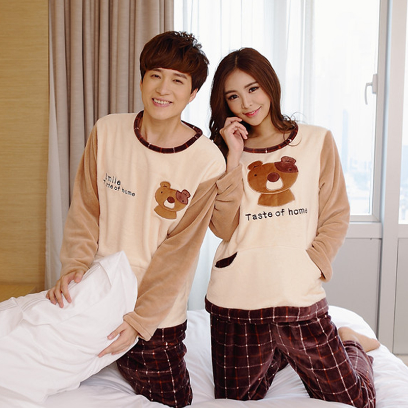 Autumn Winter Flannel Character Bear Cute Matching Pajamas for ...