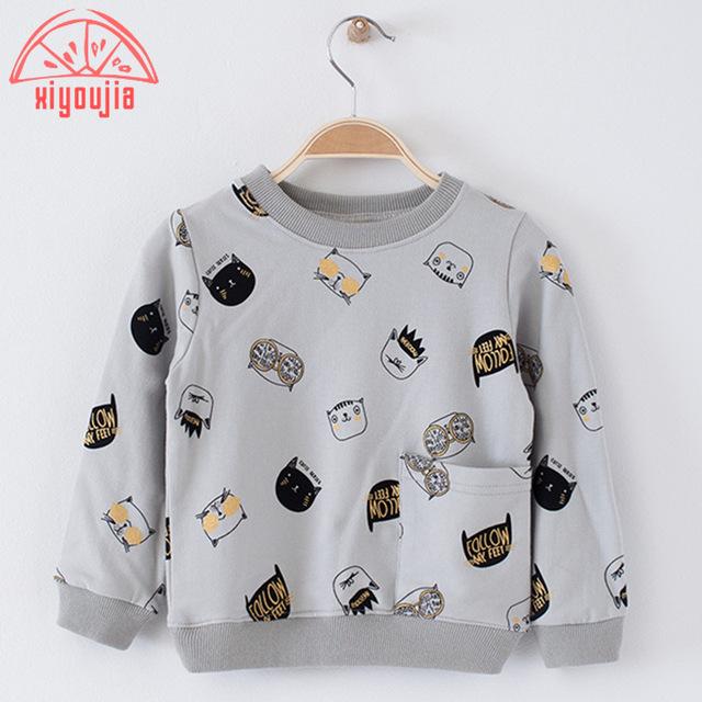 Bebé ropa de los cabritos niños de la manera ropa de los muchachos de la historieta sudaderas loose cozy algodón outwear 2-7 años 2016 otoño nueva capa