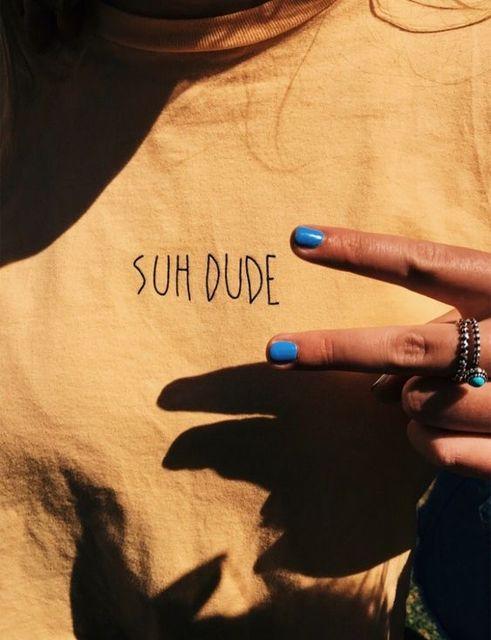 Suh Dude Tumblr Popular Tee Casual Yellow Black Letter T Shirt