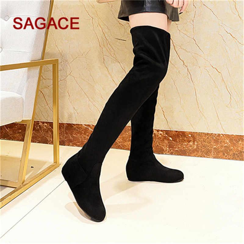 Kadın botları kış süet Slip-On yuvarlak ayak yüksek çizmeler over-the-diz ayakkabı Martin çizmeler Dropship