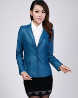Hot Latest Style Women Short Paragraph Slim Genuine Leather Suit Collar Women Sheepskin Coat Special Offer