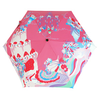 Creative Illustration PINK Forest Party Pattern Women Rain / Sun Umbrella 3 Folding 6 Rib Thickening Sunshade Lady Umbrellas