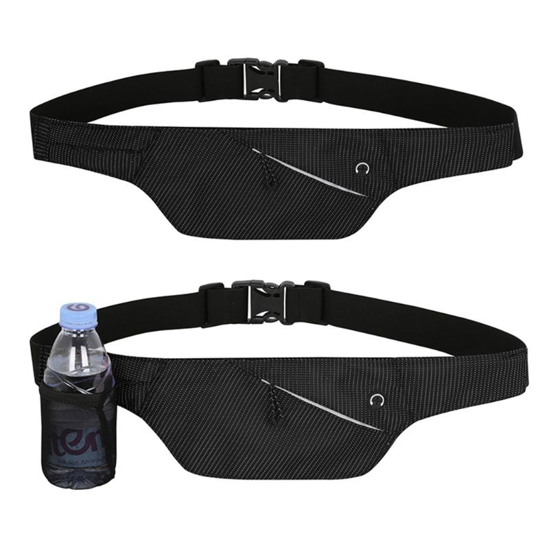 High Quality Nylon Fanny Pack Running Belt Fanny Pack Bum Bag with Water Bottle Holder and Earphone Outlet