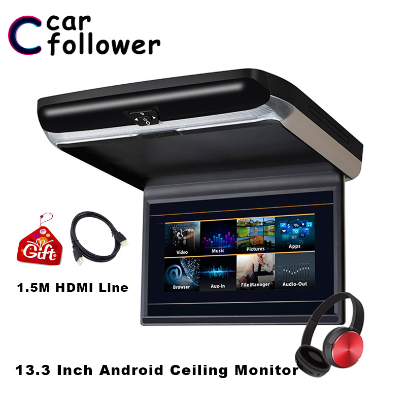 Car Monitor Android 6.0 13.3 Inch HD 1080P <font><b>IPS</b></font> Screen Car Monitor Roof Auto DVD Player WIFI/<font><b>HDMI</b></font>/USB/SD/FM/Bluetooth/Speaker MP5 image