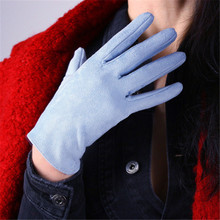 Womans Suede Gloves Short Style Simulation Leather Brushed Matte Dermabrasion Light Blue 21cm Female Mittens TB112