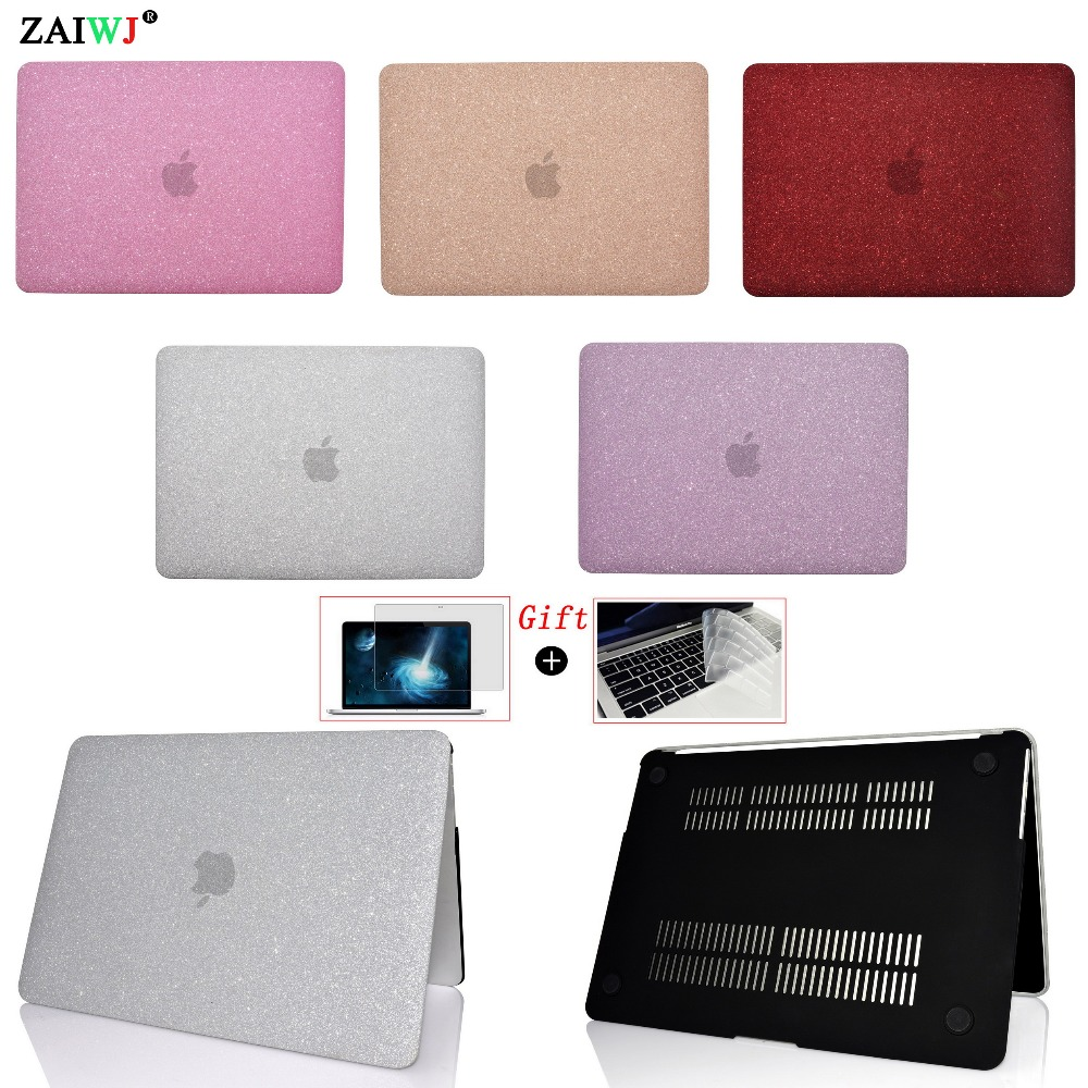 New ZAIWJ shine Laptop Case For MacBook Air Retina Pro 11 12 13.3 15 for Mac book New Pro 13 15 with Touch Bar + Keyboard Cover