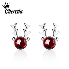 цена на Chereda Red Color Jewelry Cute Deer Stud Earring for Women Tiny Elegant Earrings Wedding Gift