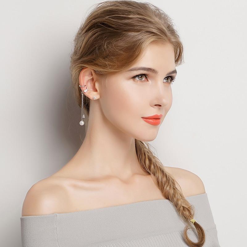 BAMOER Popular 925 Sterling Silver Geometric Circle & T bar Long Drop Earrings for Women Fashion Sterling Silver Jewelry SCE077 chain