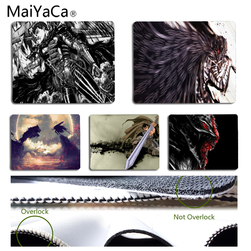MaiYaCa Cool New Berserk gamer play mats Mousepad Size for 18x22cm 25x29cm Rubber Rectangle Mousemats