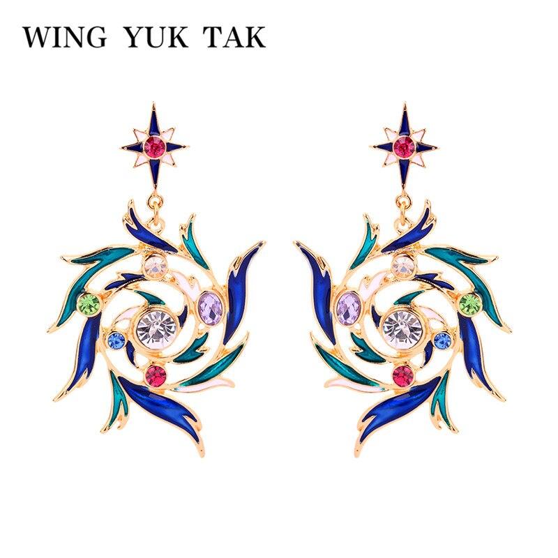Wing Yuk Tak Colorful Vintage Bogemian Earrings For Women Enamel Crystal Irregular Rainbow Drop Earrings
