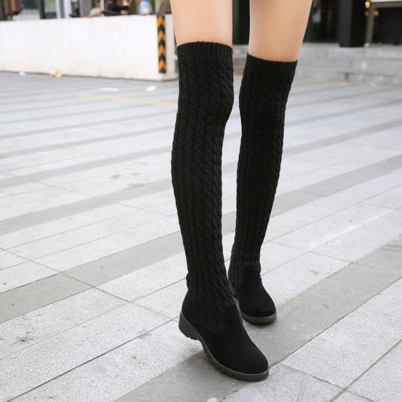 Aliexpress.com : Buy Woven Elastic Wool Women Boots Casual Over ...