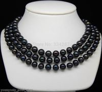 Cultured 8 9mm AAA black pearl necklaces 48Long