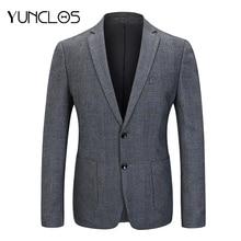YUNCLOS, высококачественный приталенный Мужской Блейзер, серый клетчатый пиджак, повседневный деловой Свадебный Мужской Блейзер, спортивные пиджаки для выпускного