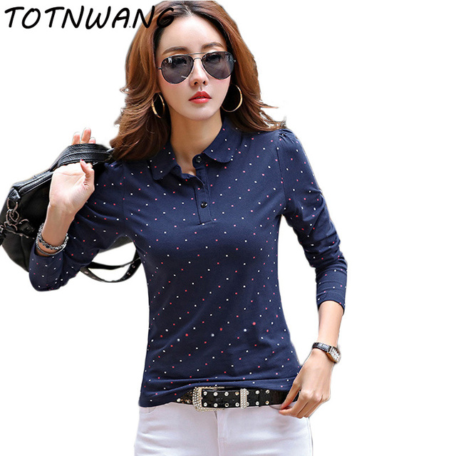 588c795bb 2017 Summer Spring Polo Shirt For Women New Long Sleeve Pollka Dot Slim Polos  Mujer Shirts