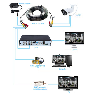Image 3 - 32ft BNC DC Connector Video Power Siamese Cable 4pcs/lot for CCTV Camera DVR