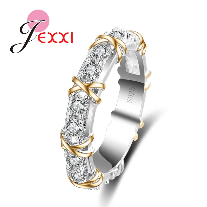 X Style Classic Crystal Rings For Women Best Gift For Engagement Anniversary Stamped S925 Sterling Silver Ring Promotion