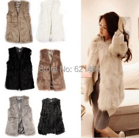 New Arrival 2016 Women Newest Long Imitation Fox Fur Sleeveless Fur Vest Coat Fashion Warm Vest Jackets Ladies Fur Clothes