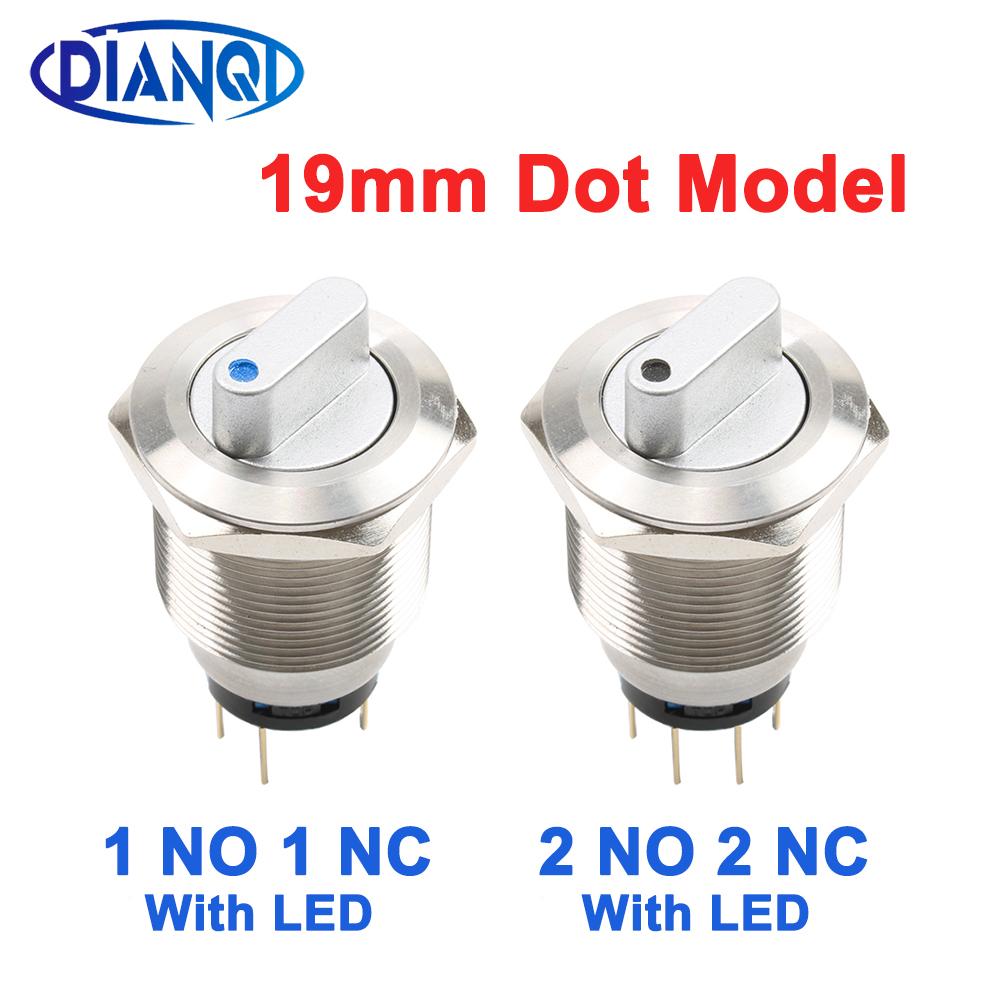 Светодиодный кнопочный переключатель, 19 мм, водонепроницаемый, одноточечный, без NC 2NO 2NC DPDT