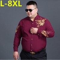2017new 8XL 7XL 6XL Floral Printed Man Casual Shirts Fashion Classic Men Dress Shirt Breathable Men