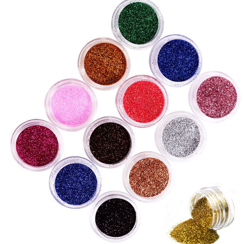 Moda 12 Culoare Bling Metal Glitter Nail Art Tool Kit Pudră - Manichiură