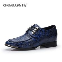 Mens 6cm increase leather shoes business point toe black casual leather shoes lace up dress wedding men shoe CY718 CHENGYUAN