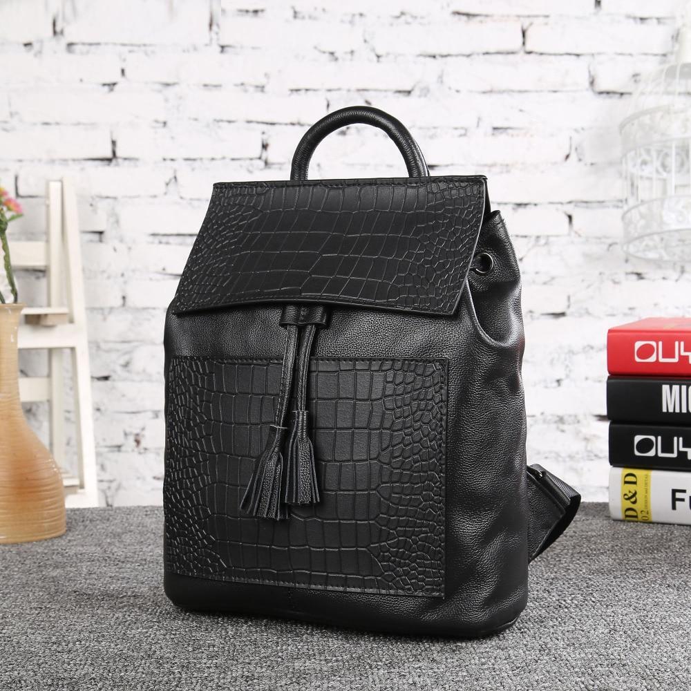ФОТО 2017 Bag for Women Cow Genuine Leather Backpack Women's Travel Bags Ladies School bag Black Korean Fresh Small Backpack 33075-1