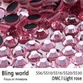 SS6 SS10 SS16 SS20 Flatback Luz Rose DMC Rhinestones Calientes del Arreglo de Transferencia de Calor para Phonecase Decoración DIY Wedding Dresses