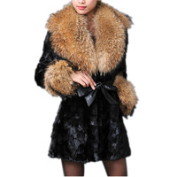 Real fur coat of natural mink winter big black white fur collar of real fox /raccoon fur 80cm long women warm fur jacket C223