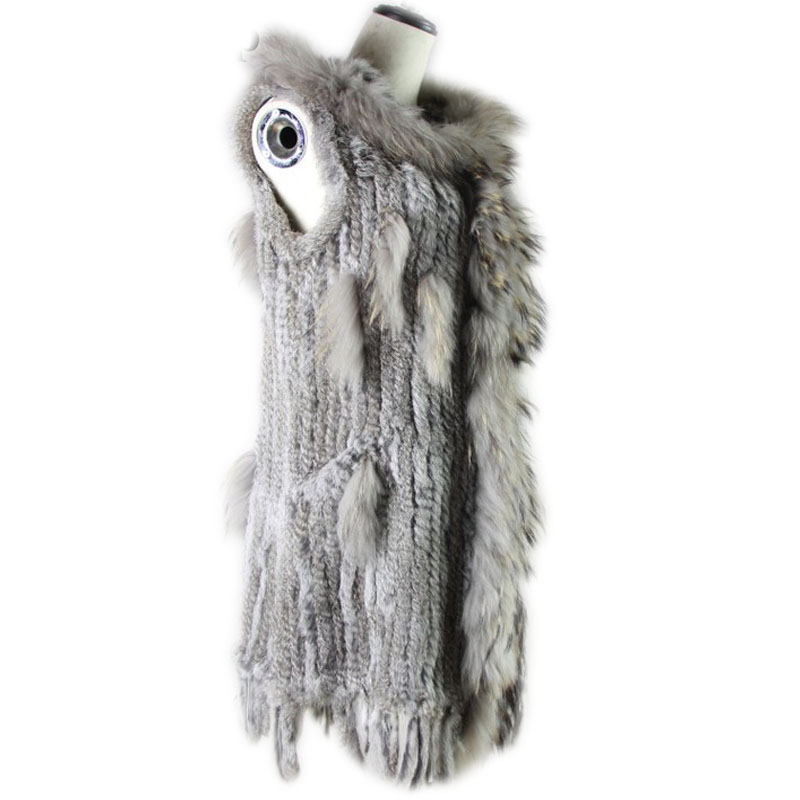 Long style rabbit fur vest women s raccoon fur collar and hood genuine fur coat female