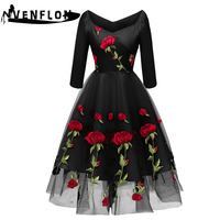 VENFLON 2019 Spring Summer Dress Women Embroidery Flower Wedding Party Dress Elegant Sexy Off Shoulder A line Lace Dresses 2XL