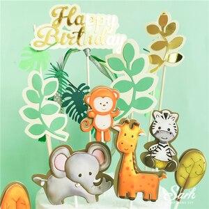 Image 2 - Топпер для торта с изображением жирафа обезьяны животных, золотые буквы на день рождения, украшения для детского дня рождения, для вечевечерние НКИ мальчика и девочки, милые подарки для выпечки