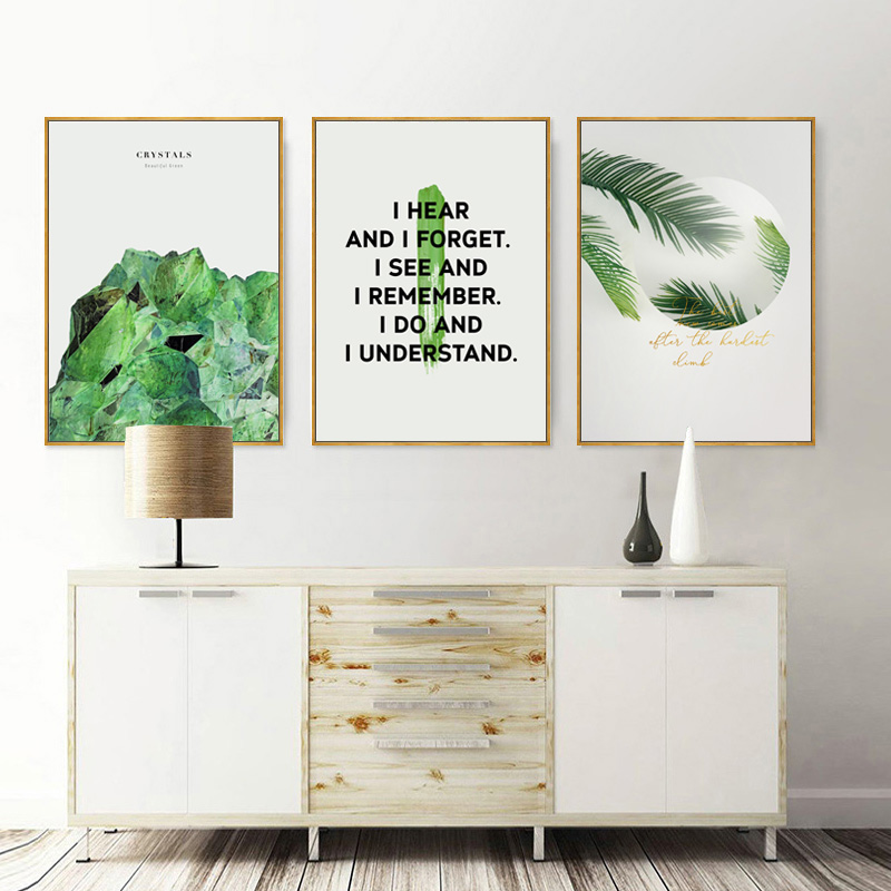 Green Plants Poster Nordic Wall Art Prints Palm Canvas Picture Nordic Green Leaf Plant Wall Pictures For Living Room Unframed in Painting Calligraphy from Home Garden