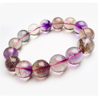 15mm Natural Genuine Mix Colors Melody Stone Super 7 Seven Rutilated Quartz Crystal Round Bead Women Stretch Bracelet Just One