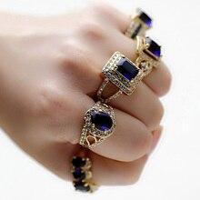 Retro Royal Espumoso Gran Plaza Oval Simulado Zafiro azul CZ diamond Anillo de Compromiso de Las Mujeres Joyería de La Boda Chapado En oro