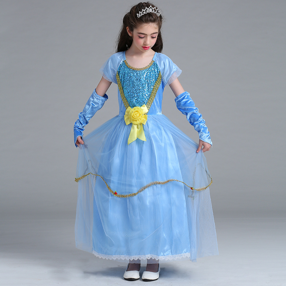 Free shipping princess  Halloween  4T-13T girl party Costume Cosplay fancy dress+gloves carnival Dress School Uniforms devil may cry 4 dante cosplay wig halloween party cosplay wigs free shipping