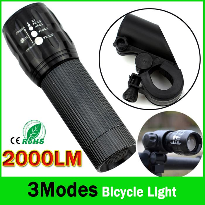 Powerful LED Flashlight Bicycle Light  2000 Lumens 3 Mode CREE Q5 LED Bike Light Front Torch Waterproof XP-6 + Torch Holder ZK93 3800 lumens cree xm l t6 5 modes led tactical flashlight torch waterproof lamp torch hunting flash light lantern for camping z93
