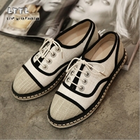 Comfortabele Oxfords stijl Gras bodem canvas schoenen Lace-Up Platform Vrouwen flats schoenen zomer cool Weven schoenen Visser