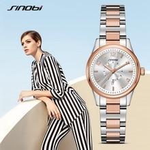 SINOBI Fashion Watch Women Luxury Stainless Steel Elegant Color Dial Casual Quartz Wristwatch Ladies Clock Relogio