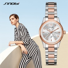 SINOBI Fashion Watch Women Luxury Stainless Steel Elegant Color Dial Casual Quartz Wristwatch Ladies Clock Relogio Feminino F31