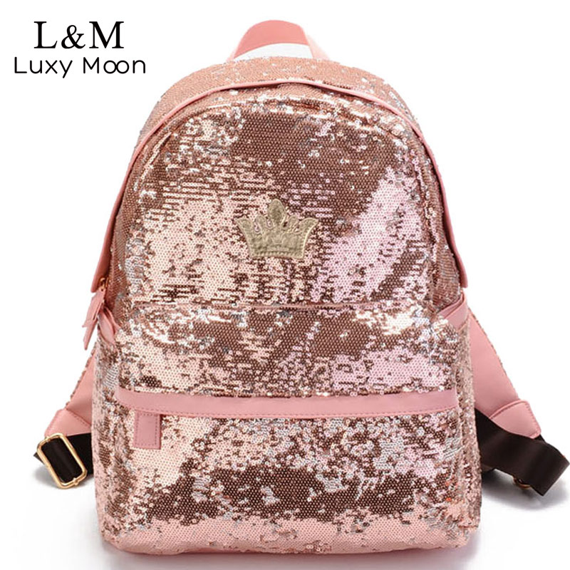 2017 Glitter Backpack Women Sequin Backpacks For Teenage Girls Rucksack New Fashion Brand Gold Black School Bag mochilas XA582H