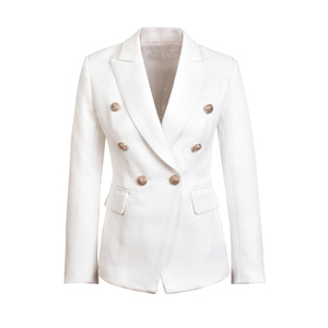 Image 2 - HarleyFashion veste européenne Slim pour fitness, boutons en métal doré, blanc, noir, kaki, vêtement pour femme, décontracté