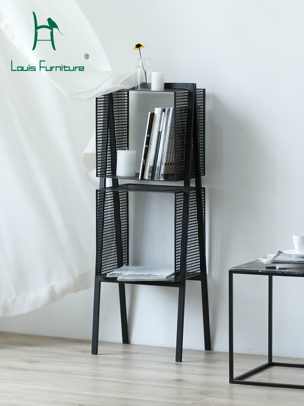 Us 116 0 Louis Fashion Bookcases Nordic Modern Minimalist Creative Living Room Kitchen Iron Art Storage Black Bookshelf Bathroom Metal In Bookcases