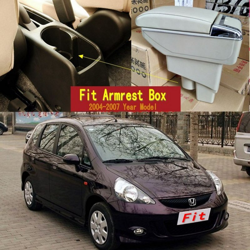 For Honda Fit Jazz hatchback armrest box central Store content Storage box with cup holder ashtray USB interface 2004-2007