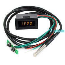 0.30 Digital DC 0-30V 12V/24V Voltmeter Thermometer Clock 3in1 Meter Gauge with 1 Meter DS18B20 Temperature Sensor Probe Yellow