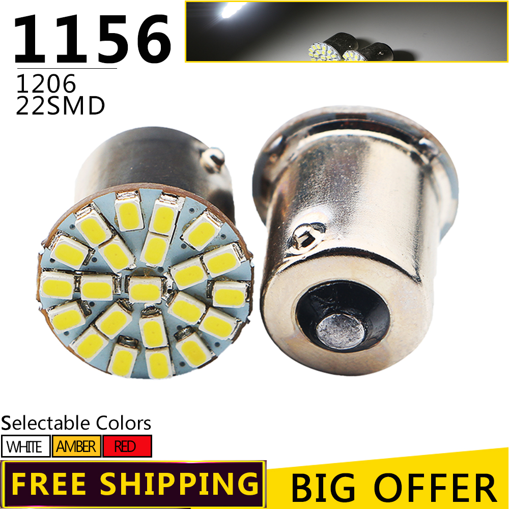 50/100pcs 1206 22 SMD led 1156 auto Car turn signal lamp Brake tail parking Light super bright Turning Bulb White Red Yellow 24v 1x car 1156 ba15s p21w r5w auto turn signal tail brake 9 led light xenon white car bulb lamp car styling