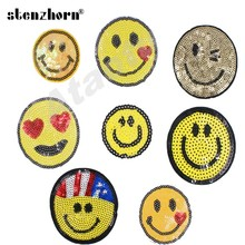 DIY Yellow Color Small smile face sequin applique iron Sew on patches kids Girls band logo sticker for clothing accessories(China)