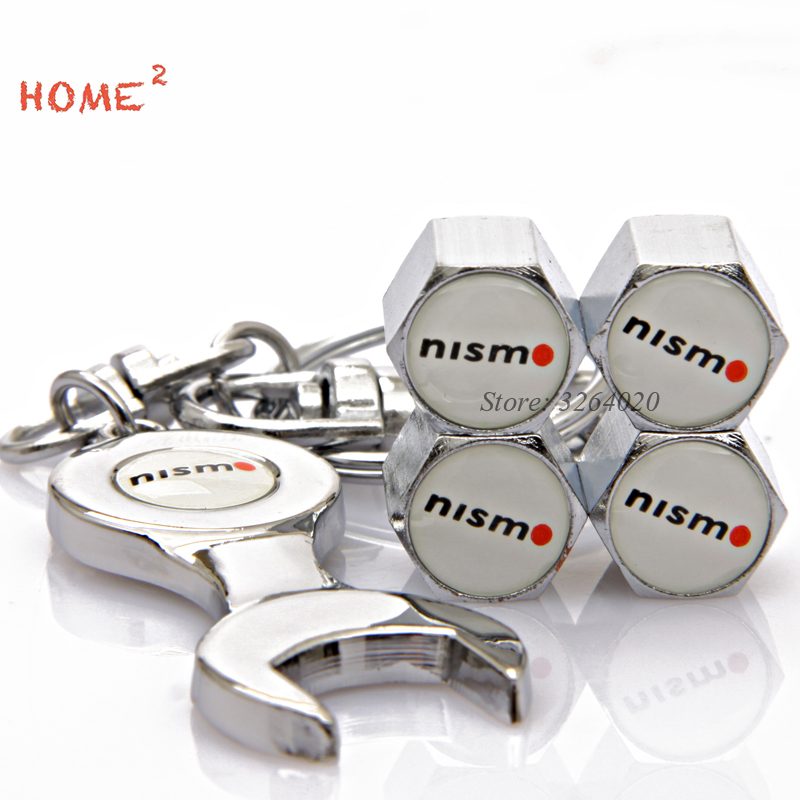 Car Tire Valve Cap Wheel Part Auto Accessories Keychain for Nismo Logo for Nissan Pathfinder Sunny 350-z 370z juke note frontier