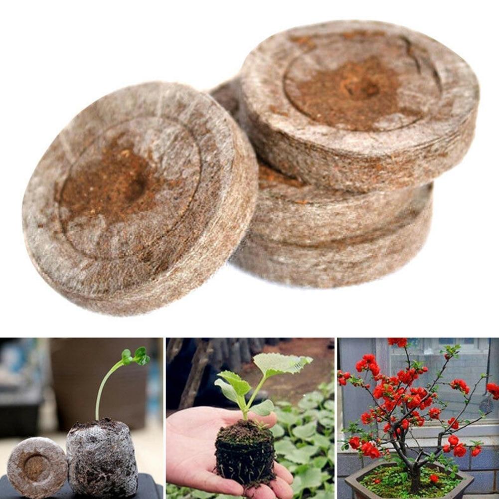 100pcs 30mm Professional NURSERY Peat Pellets Jiffy Plant Seedling Starting Soil Block Home Transplanting Plugs Garden Starter