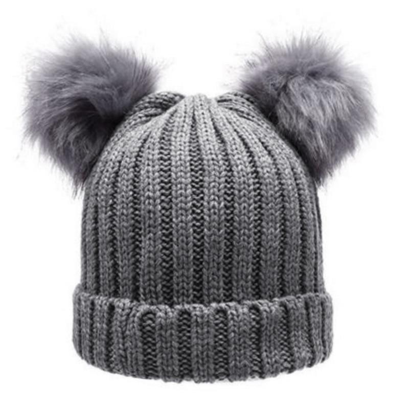 Women s Winter Chunky Knit Double Pom Pom Beanie Faux Fur Hat Women Wool Knit  Beanie Bobble Cap Pompom Beanies Gorros F1-in Skullies   Beanies from  Apparel ... e83949ecce