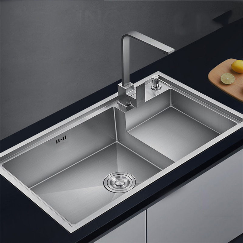 Step 7846CM Basins Of 304 Stainless Steel Hand Sink Single Bowl And Kitchen Sink Enlarge Size With Faucet Brushed